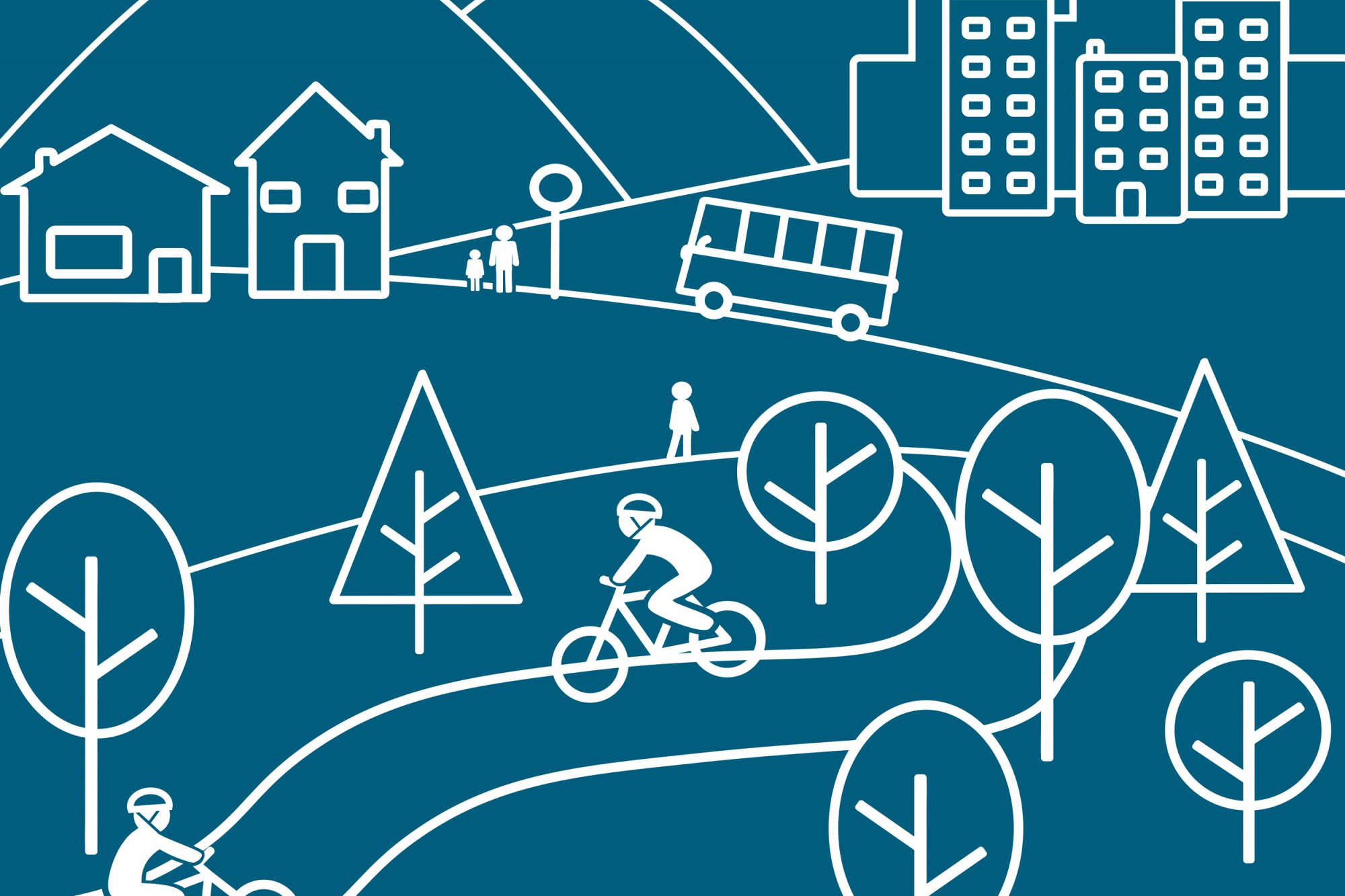 line art poster with bicycle